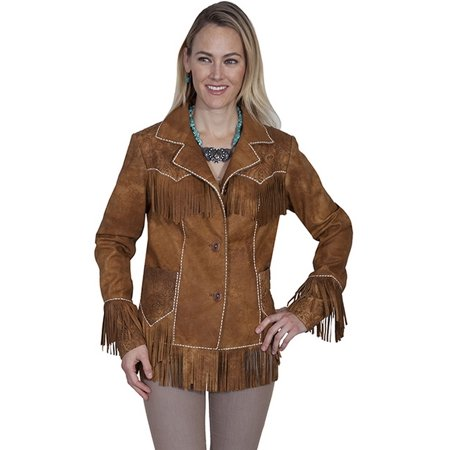 Scully Western Jacket Womens Embroider Studs Fringe Buck Stitching - Embroidered Fringe Jacket