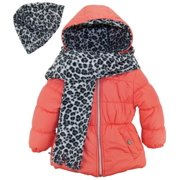 Pink Platinum Little Girls' Solid Puffer Cheetah Hat and Scarf Winter Coat Set