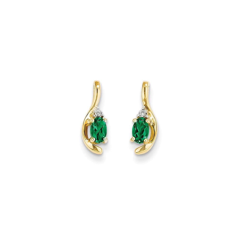 14k Yellow Gold 0.5IN Long 5x3 Oval Diamond & Genuine Emerald Earrings
