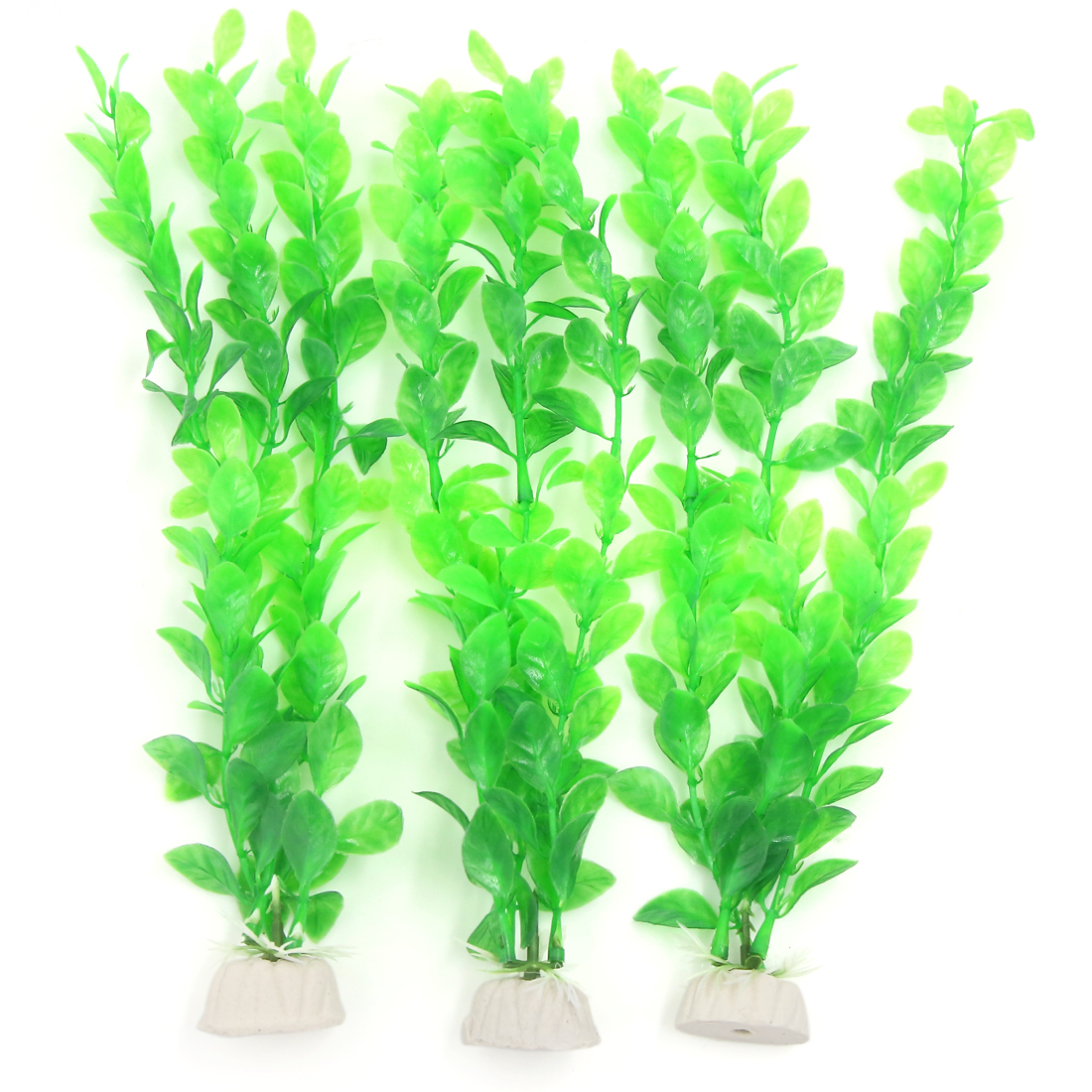 Unique Bargains Plastic Aquarium Plants with Ceramic Base, Green, 10.6-Inch, 3 Count