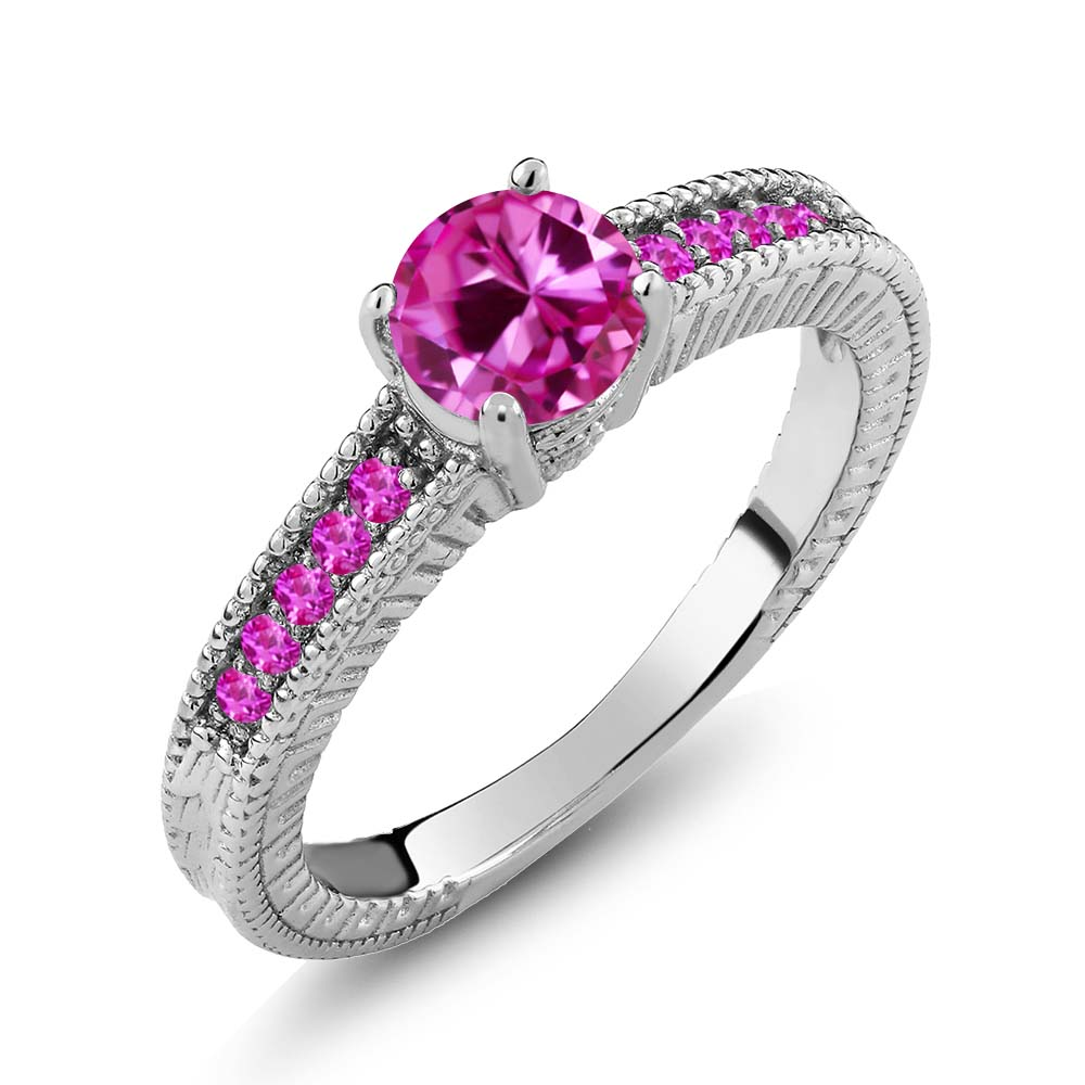 1.18 Ct Round Pink Created Sapphire Sapphire 925 Sterling Silver Engagement Ring by