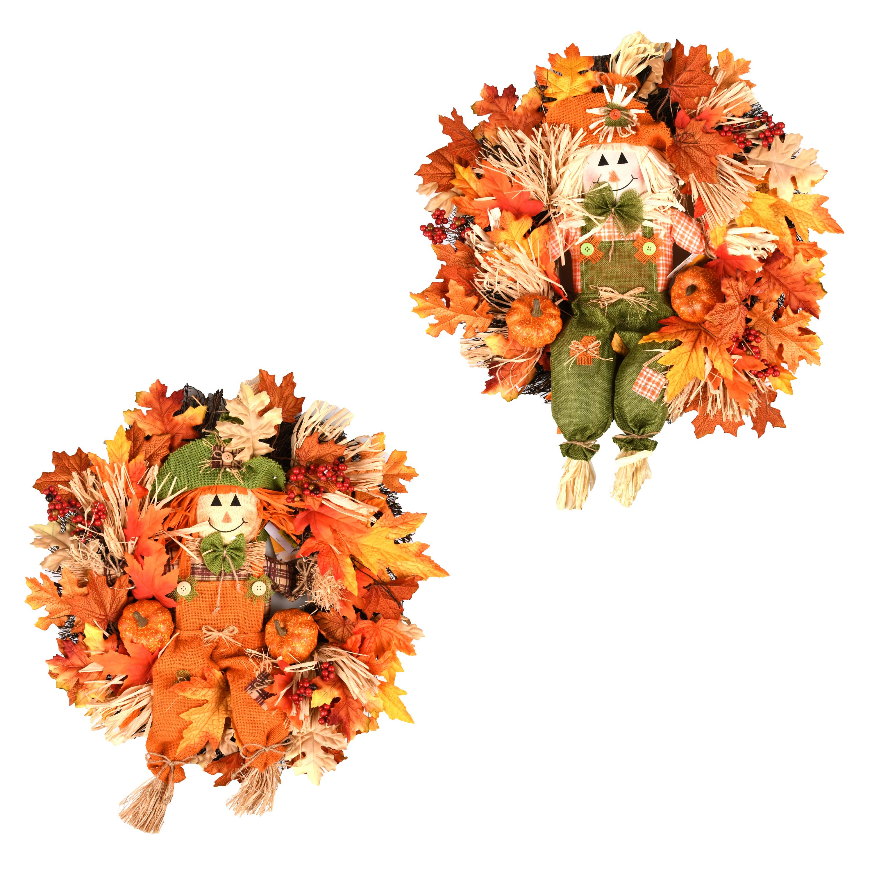 Harvest Wreath with Scarecrow
