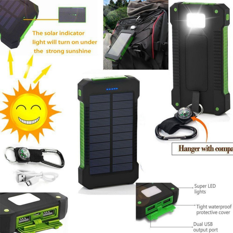 SWEETSMILE High Capacity Solar Power Bank Battery Charger, 50000mah Dual USB Output, Waterproof, For Cell Phone
