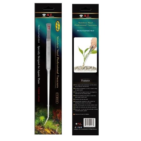 S.T. International Stainless Steel Aquatic Plant Tweezers, Curved, 9. 8 inch