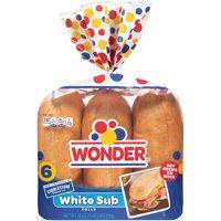 Wonder Bread White Sub Rolls, 6 Count Bag