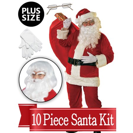 Santa XXL Suit - Red Ultra Deluxe Complete 10 Piece Kit - Santa Costume Plush Outfit - Xxl Santa Suit