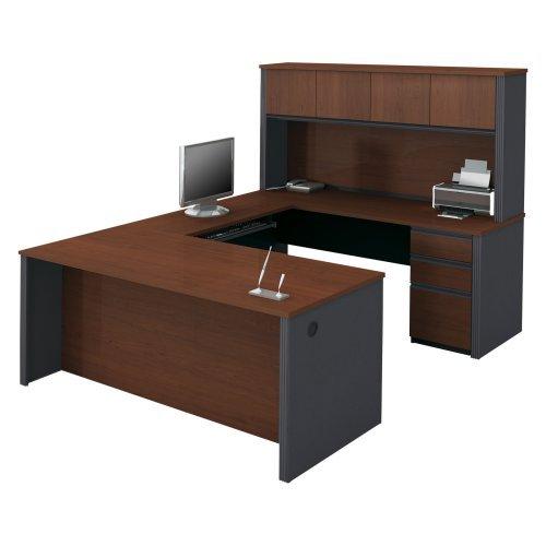 Bestar Prestige + U-Desk and Hutch Office Set in Bordeaux