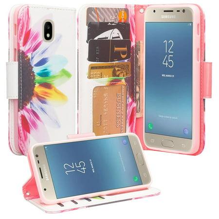 For Tracfone/StraightTalk Samsung Galaxy J3 Orbit (S367VL) Case Leather  Wallet Case [ID&Credit Card Slots] Flip Phone Cases - Sun Flower