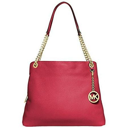 Michael Kors Jet Set Chain Large Shoulder Tote Chili Red Handbag Bag (Michael Kors Jet Set Chain Shoulder Tote Black)