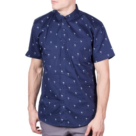 Visive Mens Short Sleeve Casual Collared Button Down Up Hawaiian Shirt Flamingo 3XL
