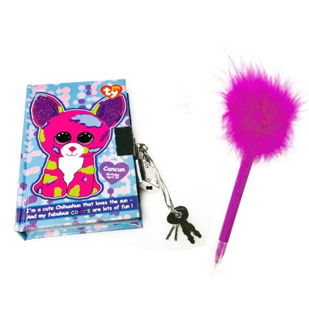 TY Beanie Boos Pocket Mini Diary with Fluffy Pen Cancun (Best Month To Go To Cancun)