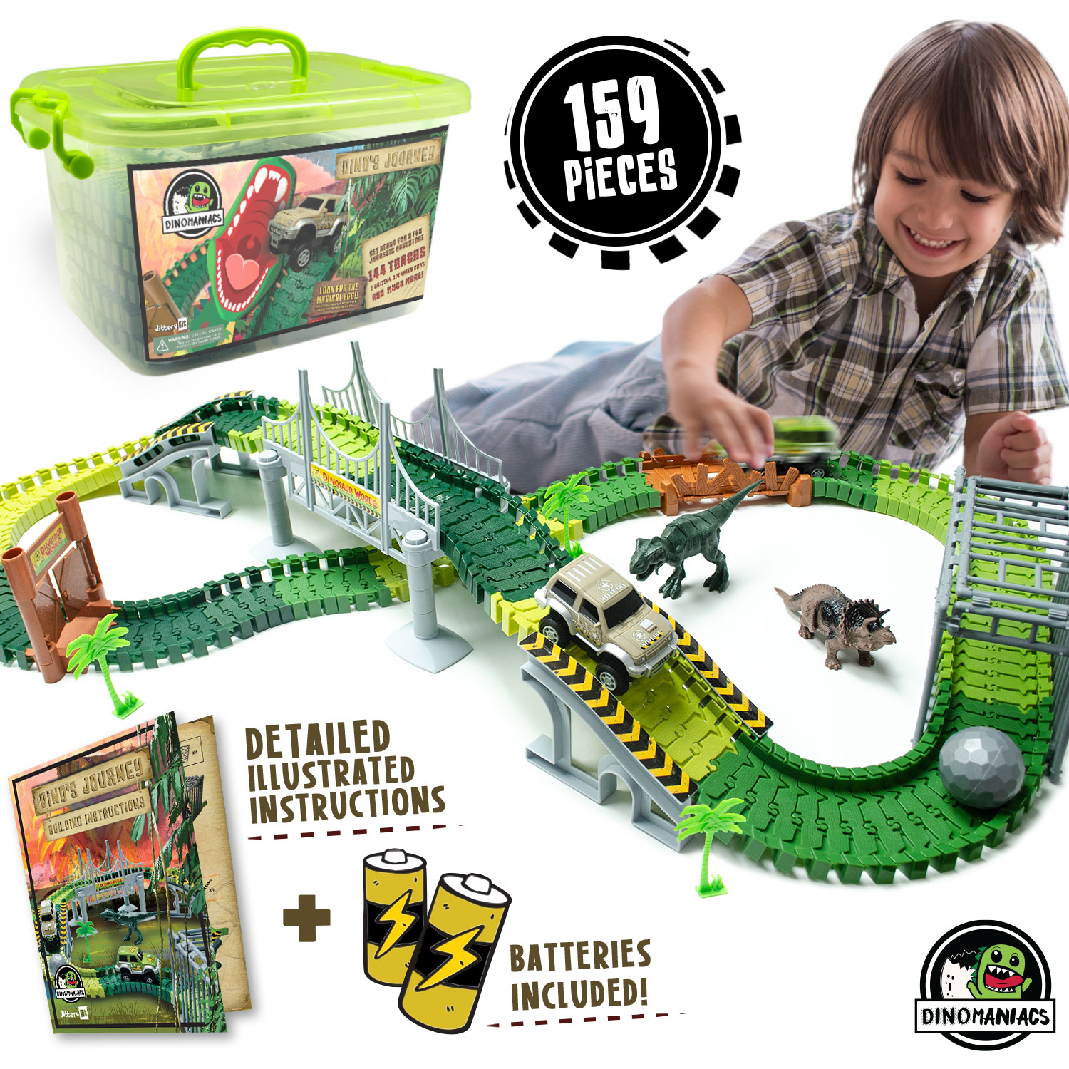 Dinosaur Train Track Toy | Jurassic Escape World | Build An Adventure Park | Fun Race Car Set | Awesome Gift for Kids | STEM Learning Toy for Toddlers, Boys And Girls Ages 3, 4, 5, 6