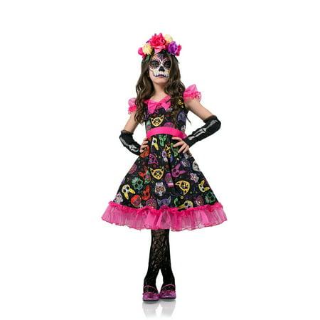Girls Sugar Skull Sweetie Day Of The Dead Dress 40107 - Girls XXLarge - Girls Skull Dress