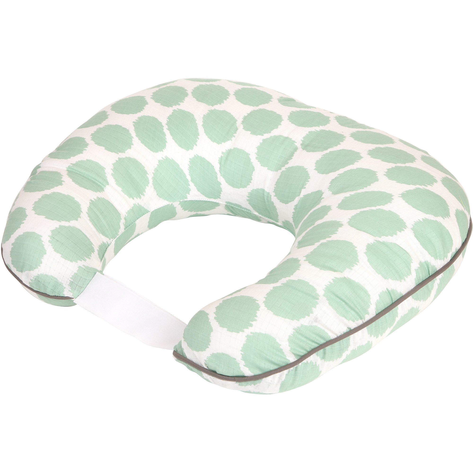 Bacati Ikat Zigzag Muslin Nursing Pillow with Insert, Mint Dots