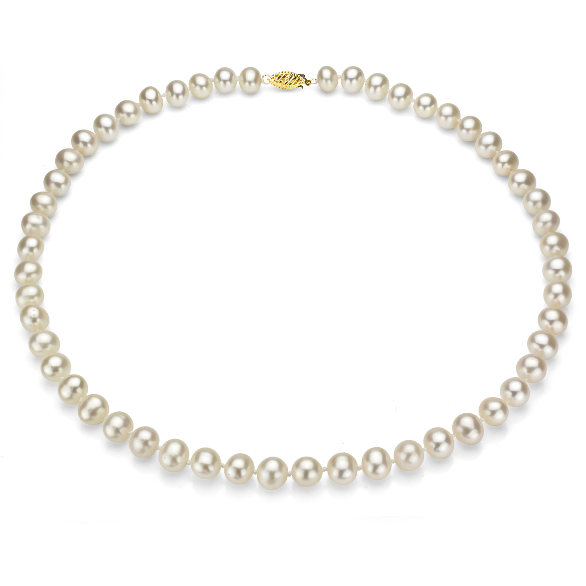 "Ultra-Luster 5-6mm White Genuine Cultured Freshwater Pearl 18"" Necklace and 14kt Yellow Gold Filigree Clasp by ADDURN"