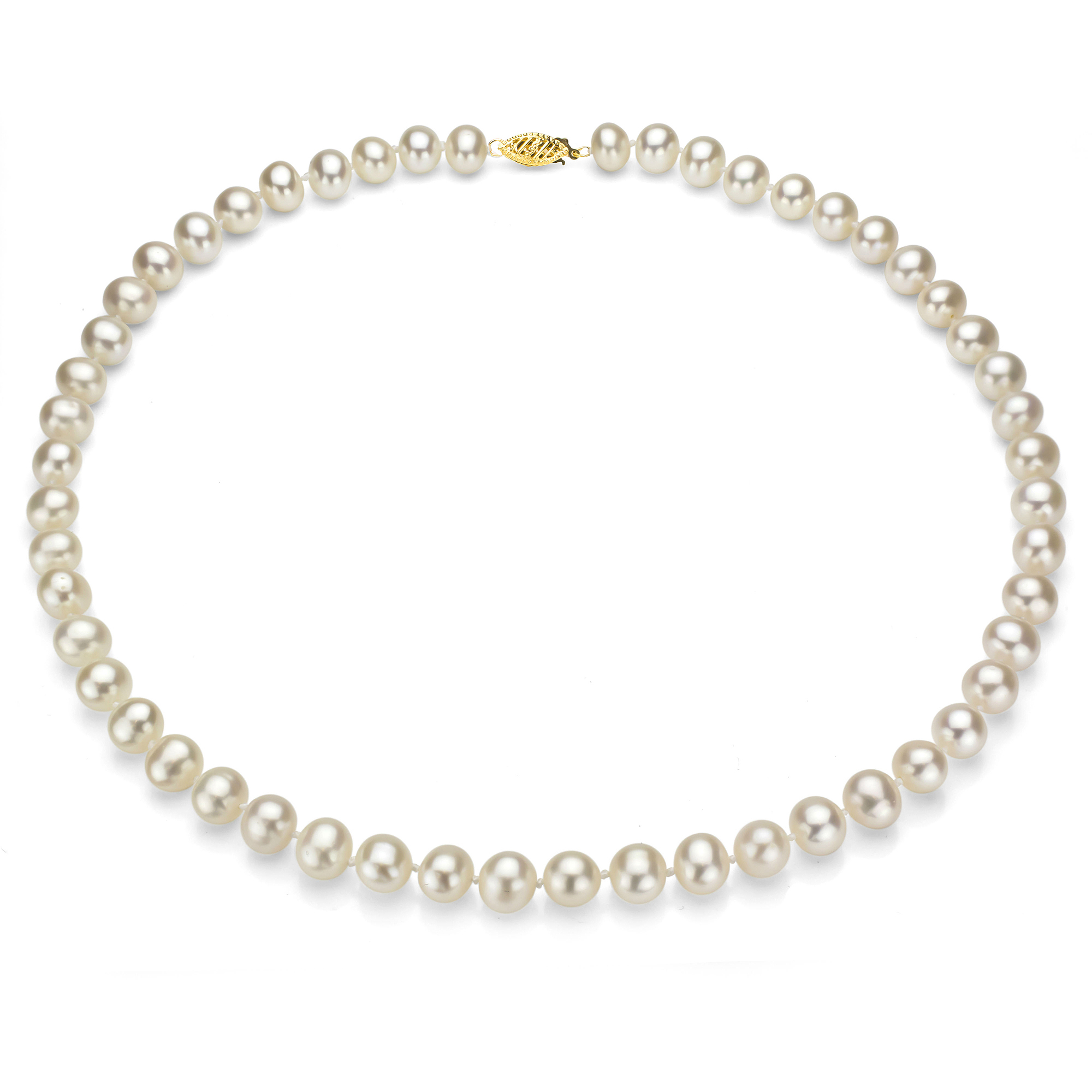 """Ultra-Luster 5-6mm White Genuine Cultured Freshwater Pearl 18"""" Necklace and 14kt Yellow Gold Filigree Clasp"""