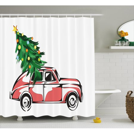 Christmas Shower Curtain Set Retro Classic Red Car Carrying Big Xmas Tree With Star And