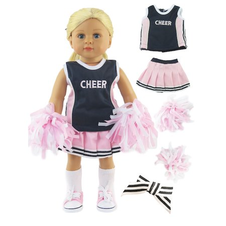 Pink and Navy Blue Cheerleader Cheerleading Uniform Outfit with Matching Pom Poms, Tennis Shoes, and Socks| Fits 18