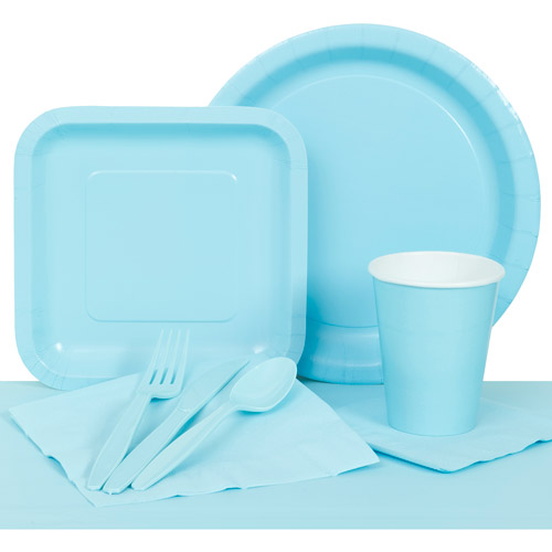 Paper Party Pack for 8, Pastel Blue