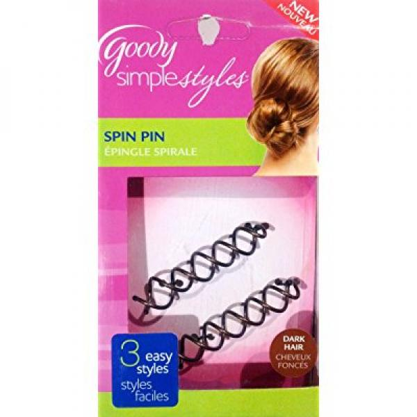 Goody Simple Styles Spin Pin for Dark Hair 3 Easy Styles 2 Pins (1 box)