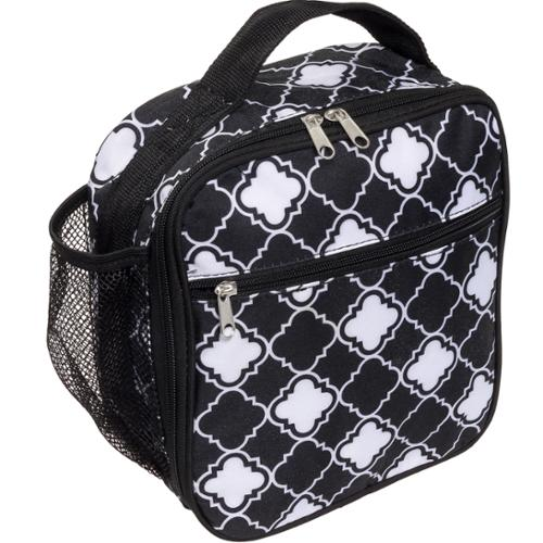Silver Lilly Womens Insulated Cooler Lunch Box Tote Bag (Black/White Quatrefoil)