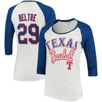 Adrian Beltre Texas Rangers 5th & Ocean by New Era Women's Glitter 3/4-Sleeve Raglan T-Shirt - White/Royal