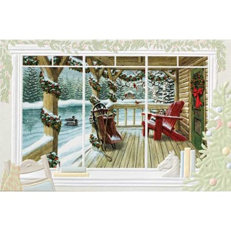 Pack of 16 loon lake cabin porch fine art embossed deluxe pack of 16 loon lake cabin porch fine art embossed deluxe christmas greeting cards m4hsunfo