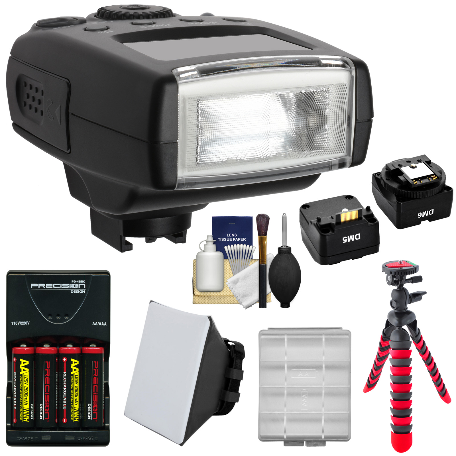 Digitalmate 130 High Power Compact Flash with Batteries & Charger + Soft Box + Tripod Kit for Sony Alpha / ILC NEX Cameras