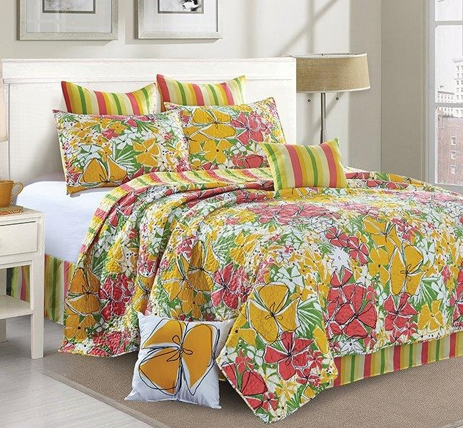 "Reversible Floral Contemporary Quilt Set ""French Meadows"" - King Size"