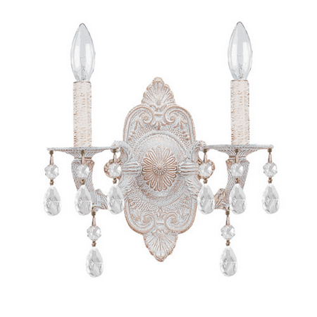 Wall Sconces 2 Light With Antique White Clear Hand Cut Crystal Wrought Iron 10 inch 120 Watts - World of Lighting