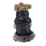 Black Brown Coat Leopard Trim Hoodie For Dog - Extra Small (Gift for Pet)