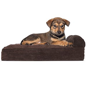 FurHaven Pet Dog Bed | Deluxe Orthopedic Faux Fleece & Corduroy Chaise Couch Pet Bed for Dogs & Cats, Espresso, Small