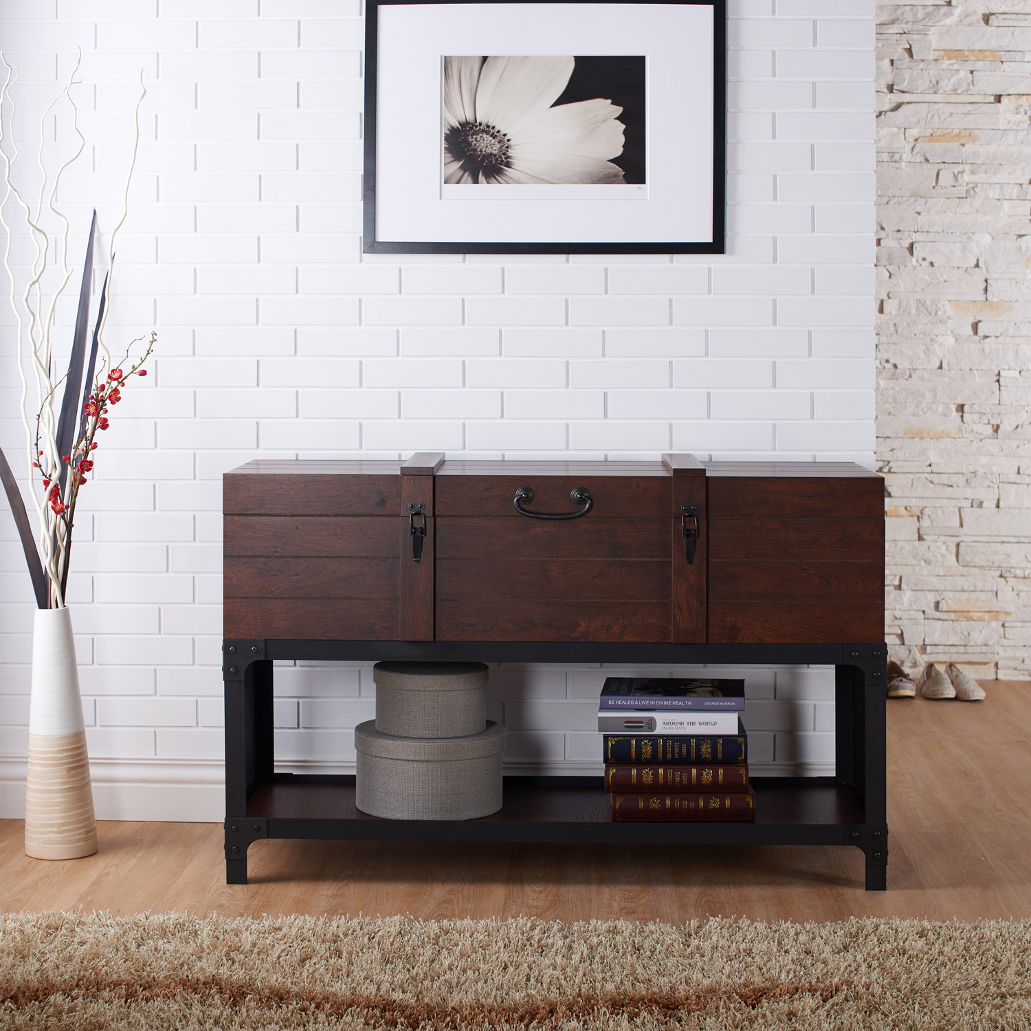 Furniture Of America Smithsen Trunk Style Console Table, Vintage Walnut