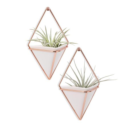 Peroptimist 2 Pack Hanging Planter Vase Geometric Wall Decor Container - Great For Air Plants/Succulents/Cactus Plants/Office Plants/Artificial Plant, White (Wall Planter)
