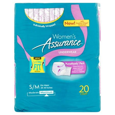 Womens Assurance Maximum Underwear S M  20 Count