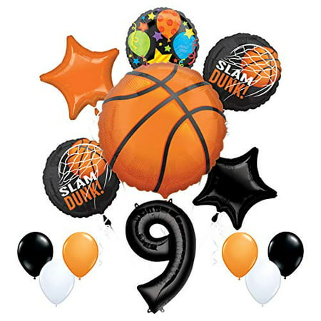 Mayflower Products Basketball 9th Birthday Party Supplies Nothin' But Net Balloon Bouquet Decorations (Basketball Birthday Supplies)