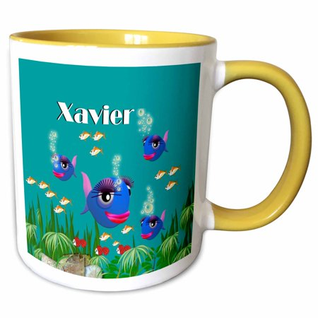 3dRose This vibrant artwork of Fish under the sea is personalized with the name Xavier - Two Tone Yellow Mug, 11-ounce - Fish Under The Sea