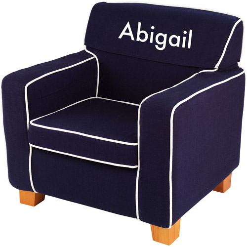 Kidkraft - Personalized Navy Laguna Chair, White Block Font Girl's Name