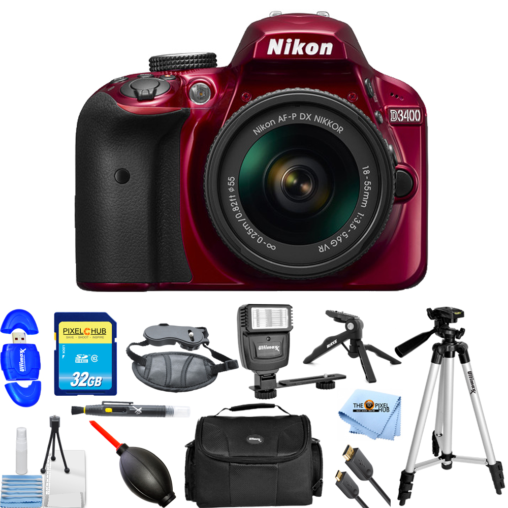 UNASSIGNED Nikon D3400 DSLR Camera with 18-55mm Lens (Red...