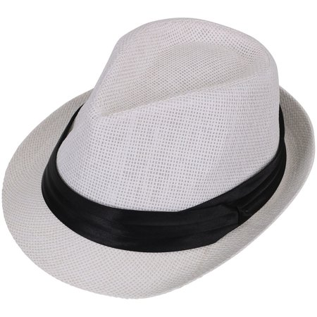 e1c5432e Simplicity Women Men Summer Double Colors Straw Fedora Hat w/ Rasta Band -  Walmart.com