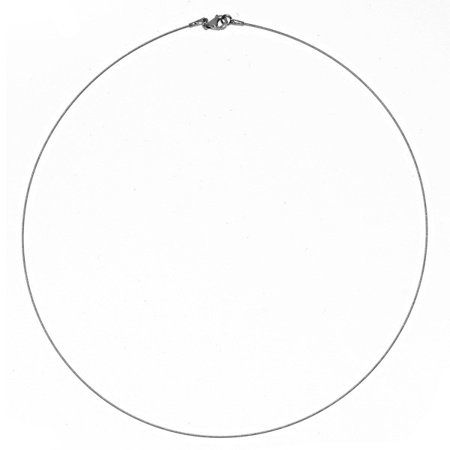 14k White Gold 0.5mm Twist Cable Wire Chain Necklace - Length: 16 to 18