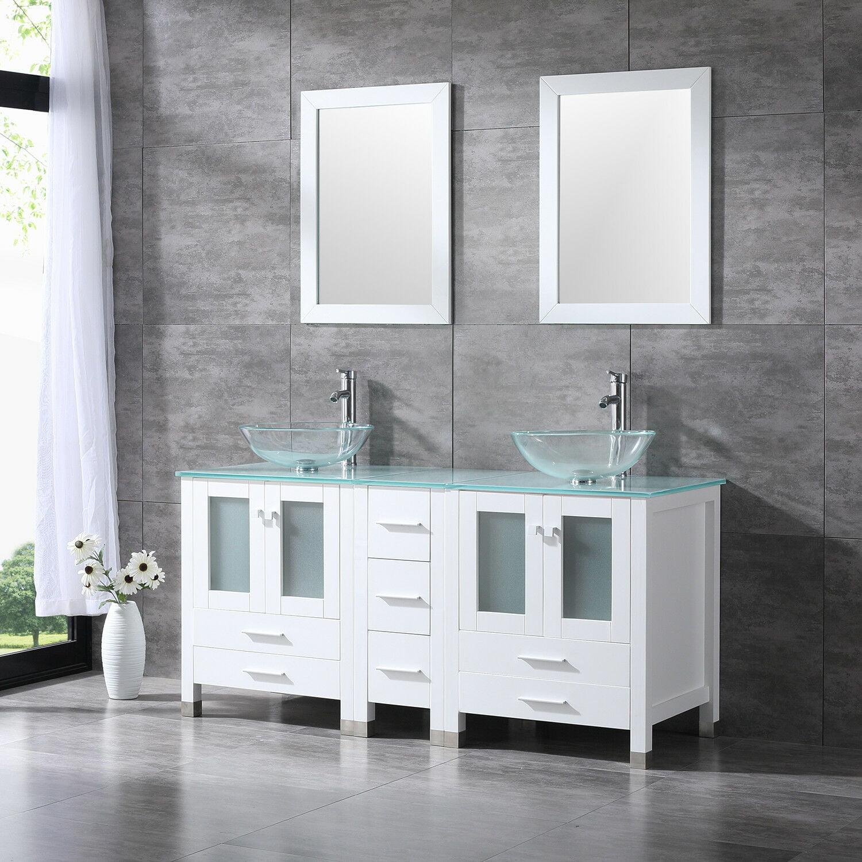 "White 60"" Bathroom Vanity Cabinet w/ Modern Double Glass ..."