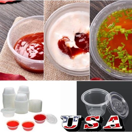 HURRISE Sauce Cup Plastic,50Pcs Disposable Plastic Clear Sauce Chutney Cups Boxes With Lid Food Takeaway - image 6 de 8