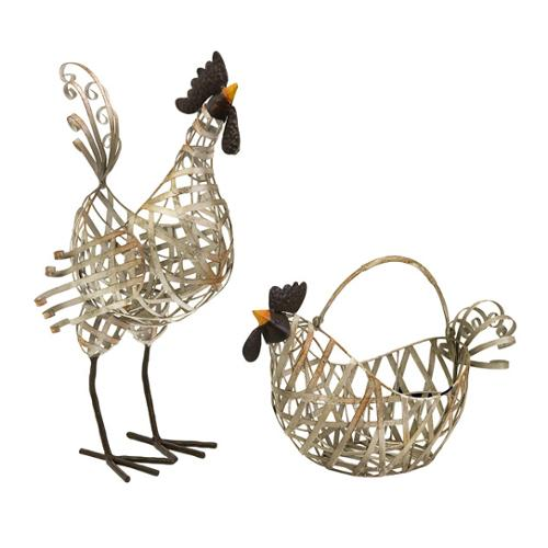 """Set of 2 Country Chic Distressed White Wired Chicken Figure Baskets 19"""""""