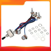 Prewired Wiring Harness Kit for LP Electric Guitar 2T2V 500K Pots 3 Way Toggle Switch Wiring Harness with Jack for Dual Humbucker Gibson Les Pual Style Guitar Electronics Replacement