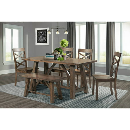 Picket House Furnishings Regan 6-Piece Dining Set, 4 Side Chairs & Bench, Walnut ()