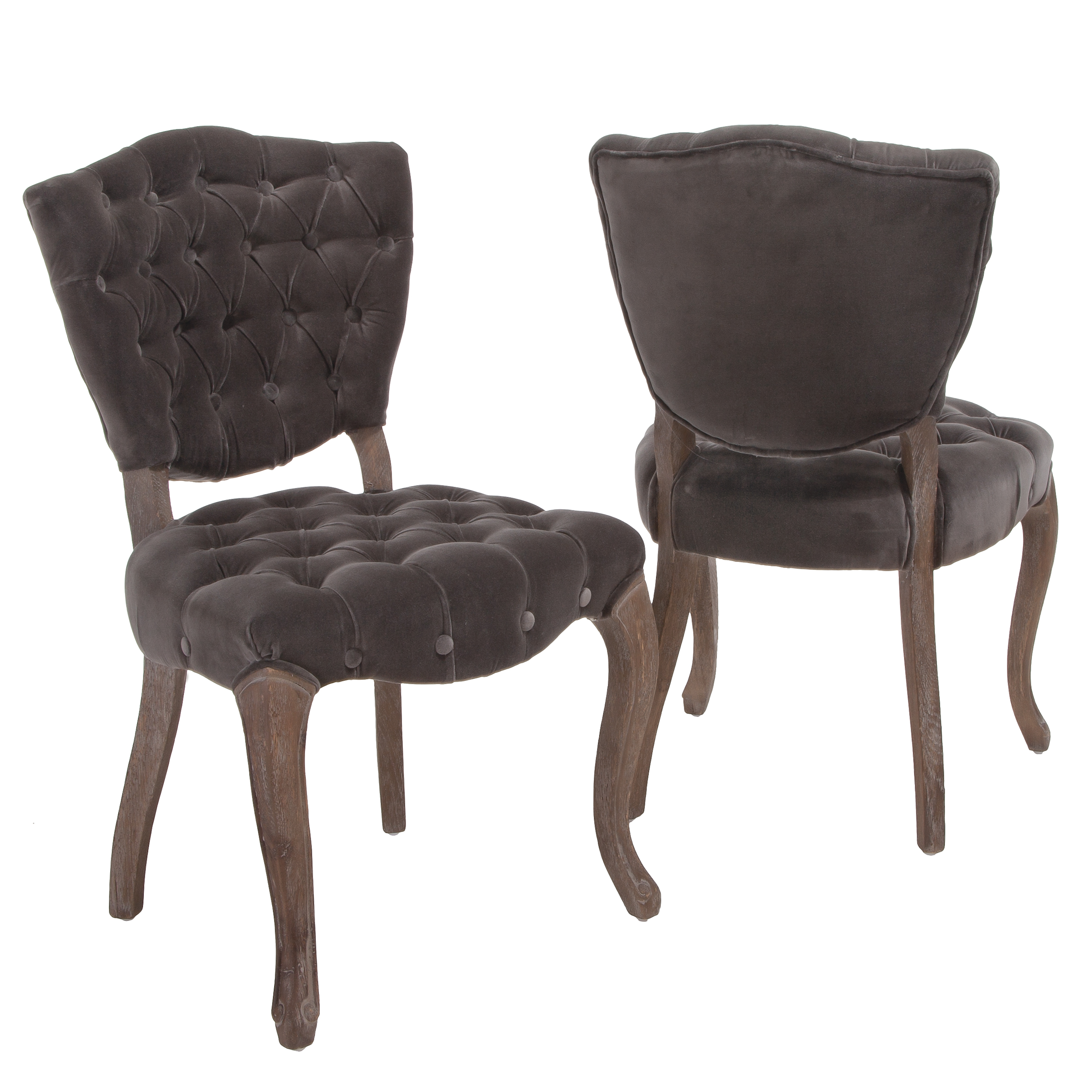 Harrington Tufted Charcoal Fabric Dining Chairs (Set of 2) by GDF Studio