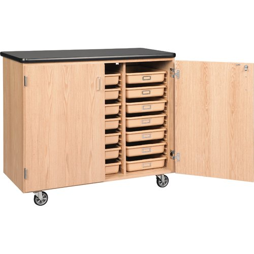 Diversified Woodcrafts Mobile Tote Tray Storage Cabinet [4751K-DW]