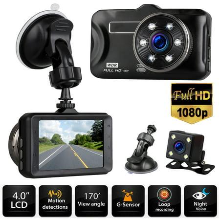 """Dash Cam Car Camera 1080P Front Cam & HDMI Rear View Backup Camera 170° Wide Angle 3.0"""" LCD, IR Night Vision G-Sensor Parking Monitor Loop Recording"""