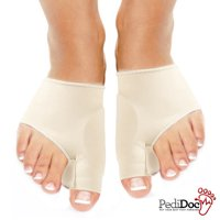 PediDoc(TM) Bunion Relief Cushion Sleeves and Toe Spacers, Toe Straightener Splint with Soft Gel  - 2 Pack